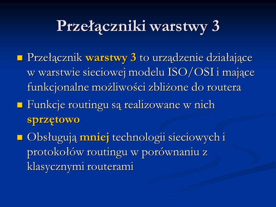 Przełączniki warstwy 3 Przełącznik warstwy 3 to urządzenie działające w warstwie sieciowej modelu ISO/OSI i mające funkcjonalne możliwości zbliżone do