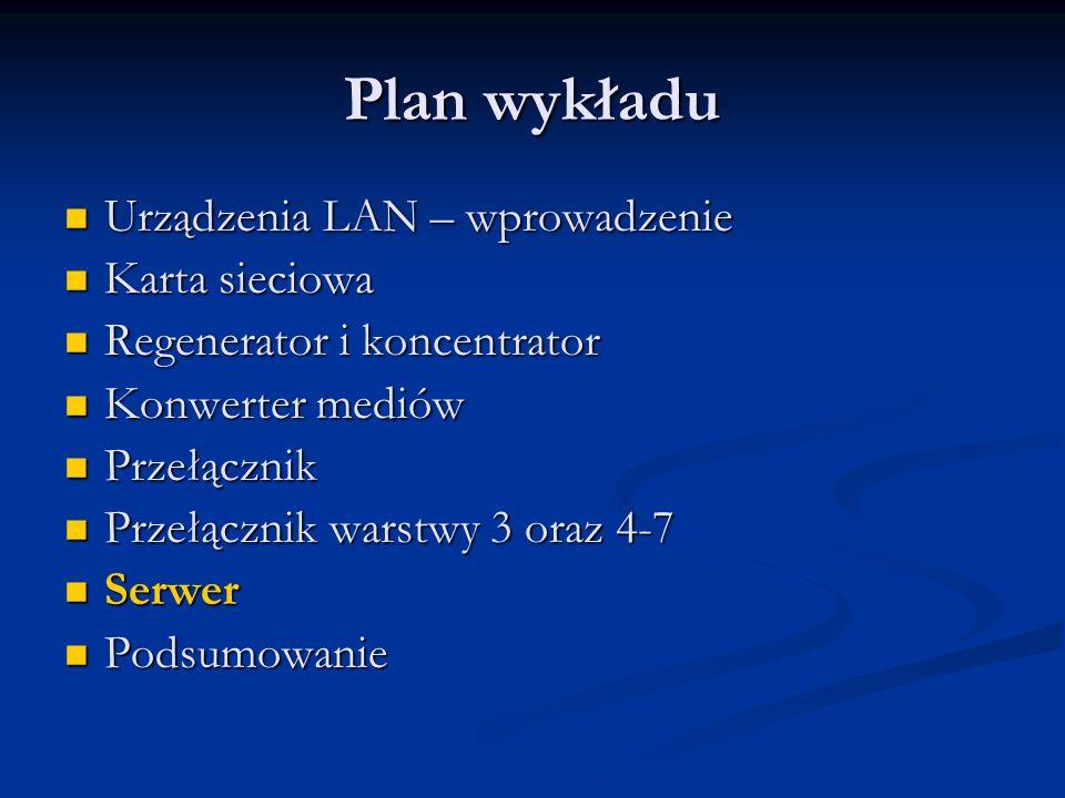 Plan wykładu Urządzenia LAN – wprowadzenie Urządzenia LAN – wprowadzenie Karta sieciowa Karta sieciowa Regenerator i koncentrator Regenerator i koncen