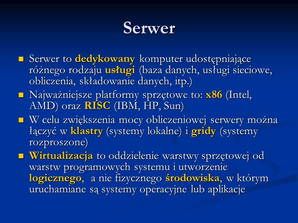 Serwer Serwer to dedykowany komputer udostępniające różnego rodzaju usługi (baza danych, usługi sieciowe, obliczenia, składowanie danych, itp.) Serwer