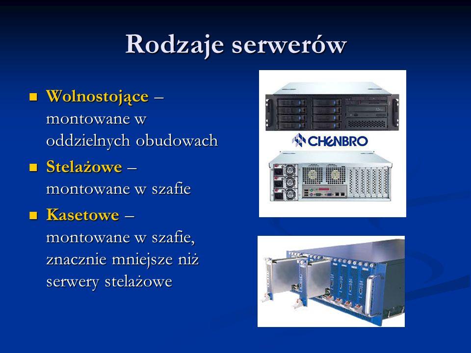 Rodzaje serwerów Wolnostojące – montowane w oddzielnych obudowach Wolnostojące – montowane w oddzielnych obudowach Stelażowe – montowane w szafie Stel