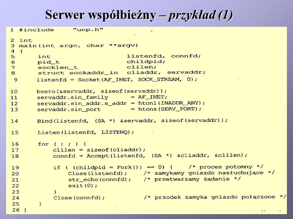Serwer współbieżny – przykład (1)