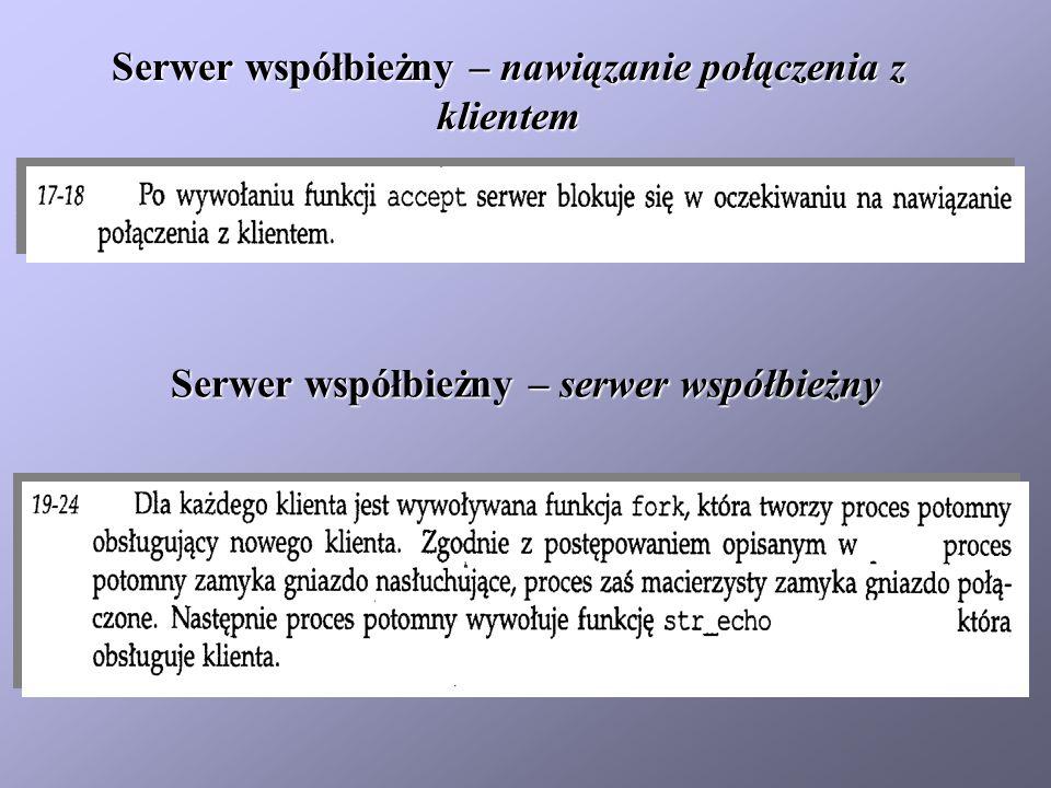 Serwer współbieżny – serwer współbieżny Serwer współbieżny – nawiązanie połączenia z klientem