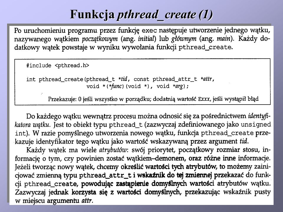 Funkcja pthread_create (1)