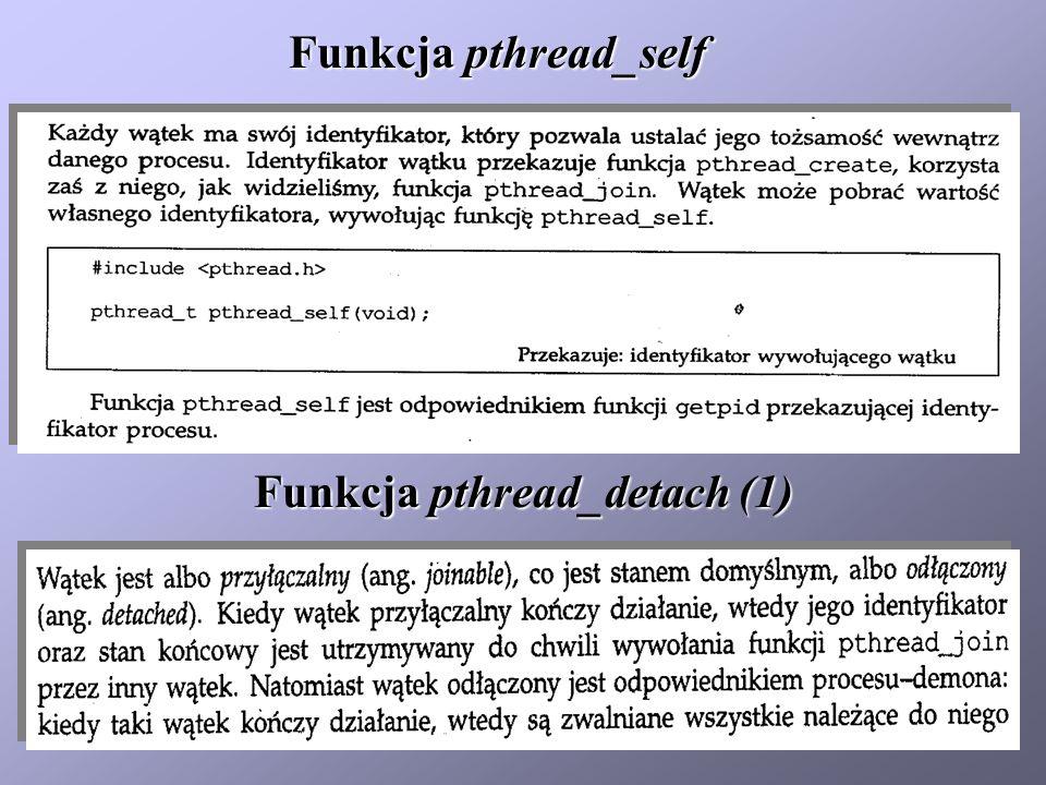 Funkcja pthread_self Funkcja pthread_detach (1)
