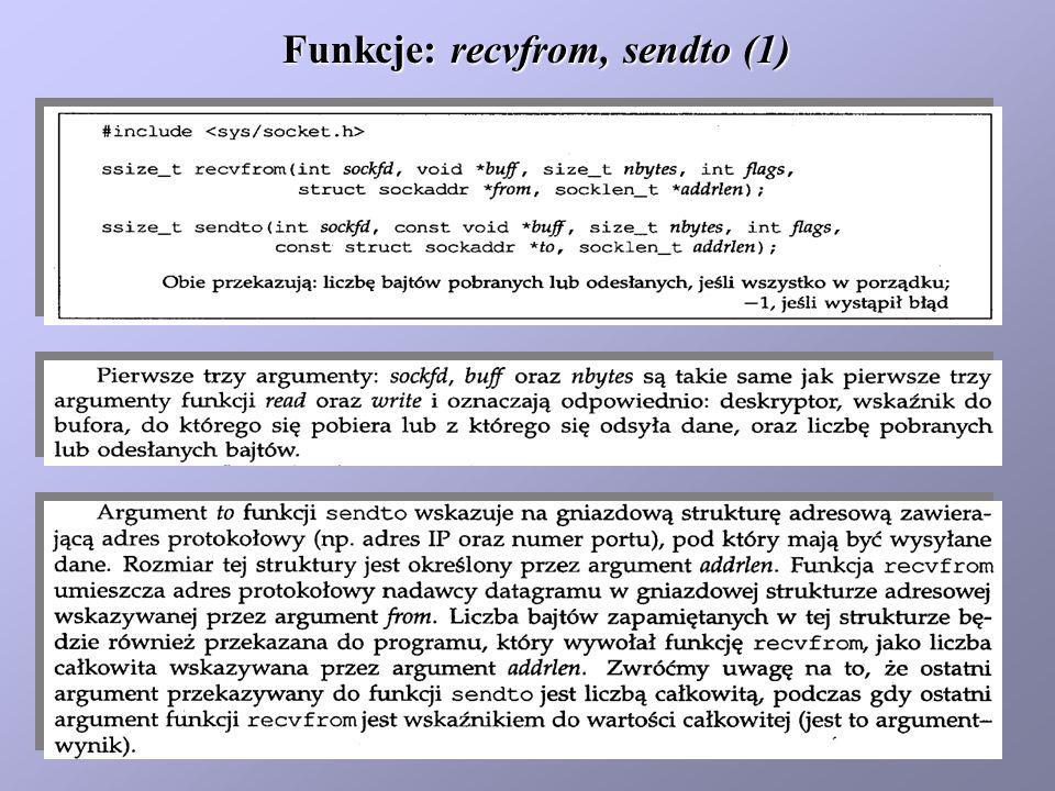 Funkcje: recvfrom, sendto (2)