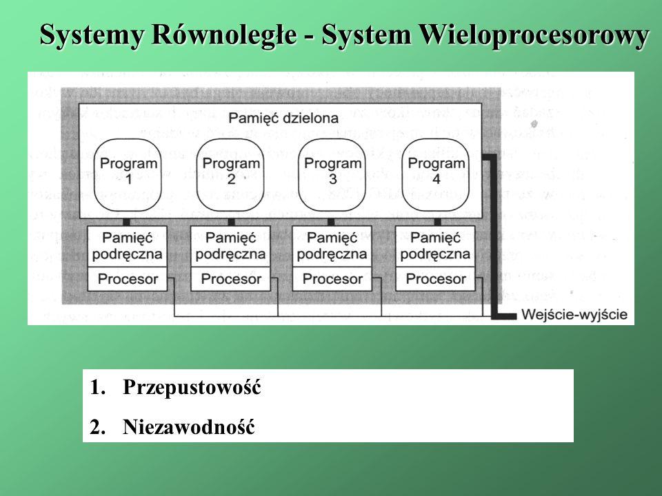 1.Przepustowość 2.Niezawodność Systemy Równoległe - System Wieloprocesorowy