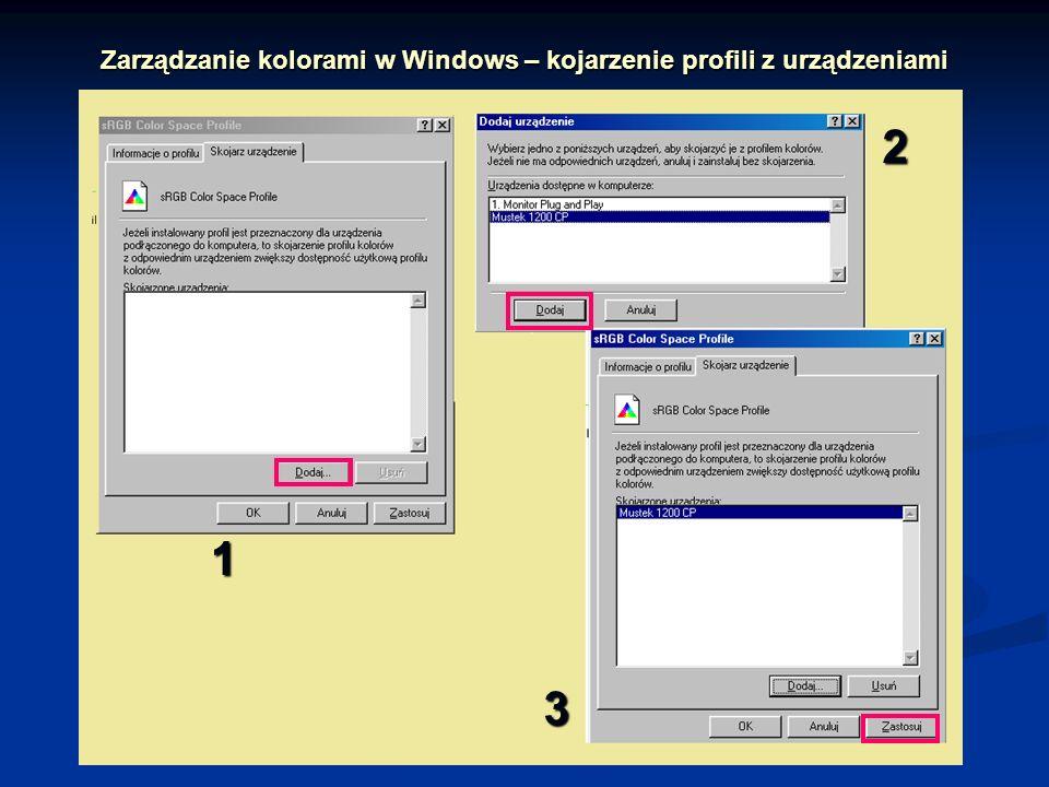Zarządzanie kolorami w Windows – kojarzenie profili z urządzeniami 1 2 3