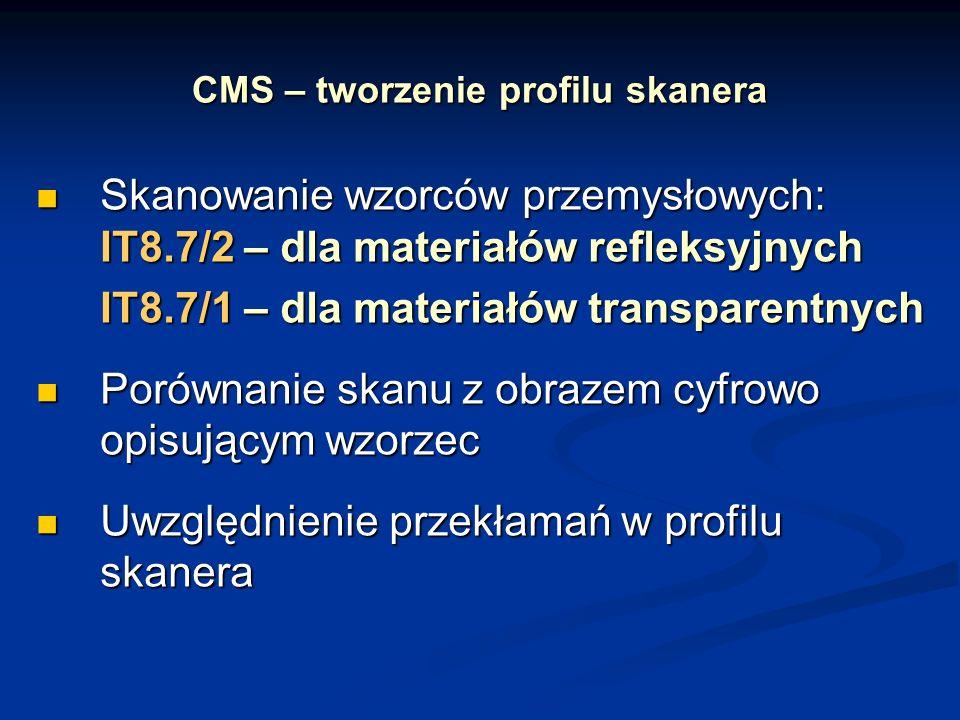 CMS – tworzenie profilu skanera Skanowanie wzorców przemysłowych: IT8.7/2 – dla materiałów refleksyjnych Skanowanie wzorców przemysłowych: IT8.7/2 – d