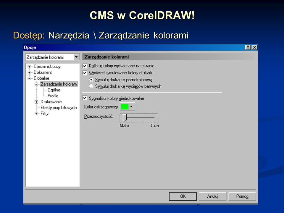 CMS w CorelDRAW! Dostęp: Narzędzia \ Zarządzanie kolorami