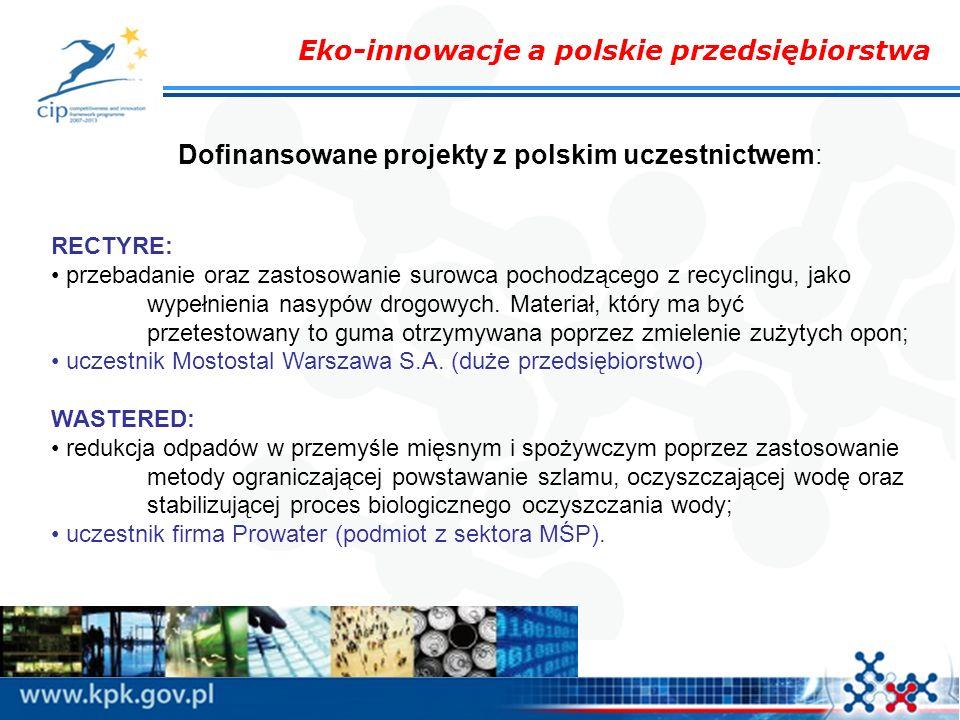 Eko-innowacje a polskie przedsiębiorstwa Dofinansowane projekty z polskim uczestnictwem: RECTYRE: przebadanie oraz zastosowanie surowca pochodzącego z