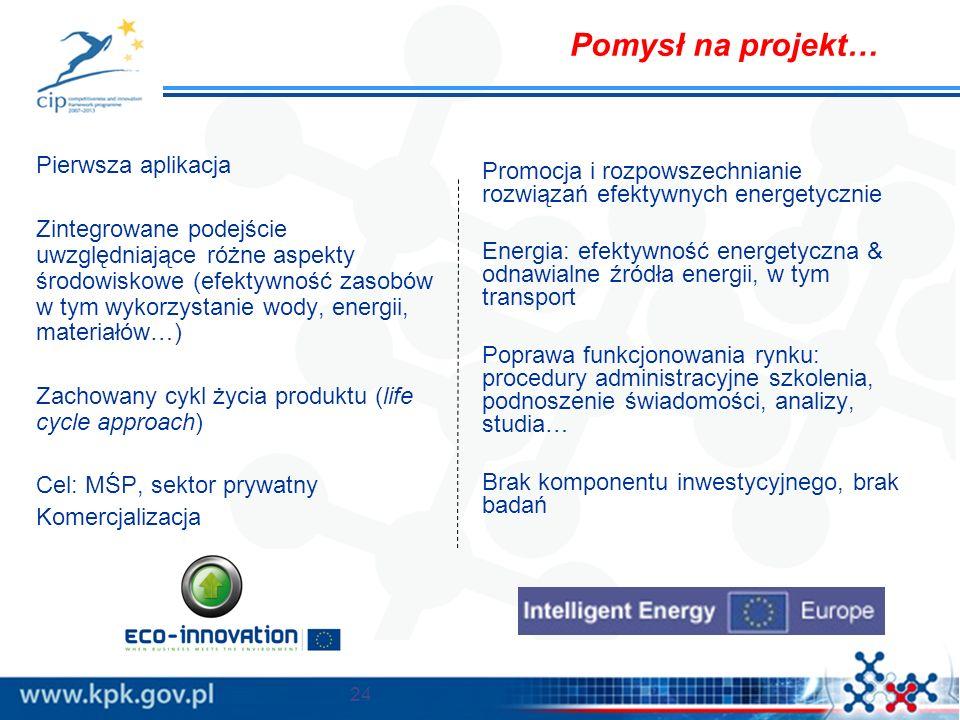 Pierwsza aplikacja Zintegrowane podejście uwzględniające różne aspekty środowiskowe (efektywność zasobów w tym wykorzystanie wody, energii, materiałów