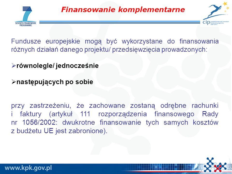 Finansowanie komplementarne Fundusze europejskie mogą być wykorzystane do finansowania różnych działań danego projektu/ przedsięwzięcia prowadzonych: