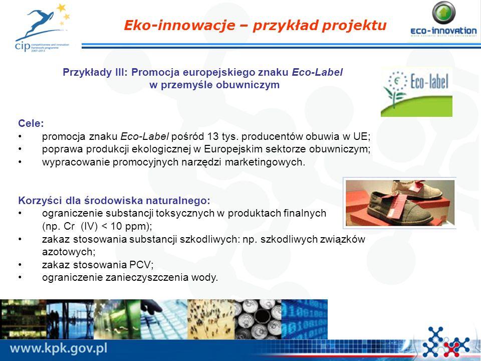 Przykłady III: Promocja europejskiego znaku Eco-Label w przemyśle obuwniczym Cele: promocja znaku Eco-Label pośród 13 tys. producentów obuwia w UE; po