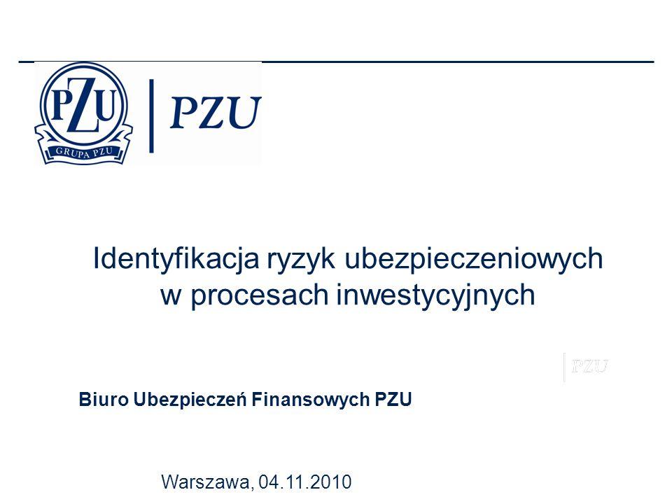 Warszawa, 04.11.2010 Biuro Ubezpieczeń Finansowych PZU Identyfikacja ryzyk ubezpieczeniowych w procesach inwestycyjnych