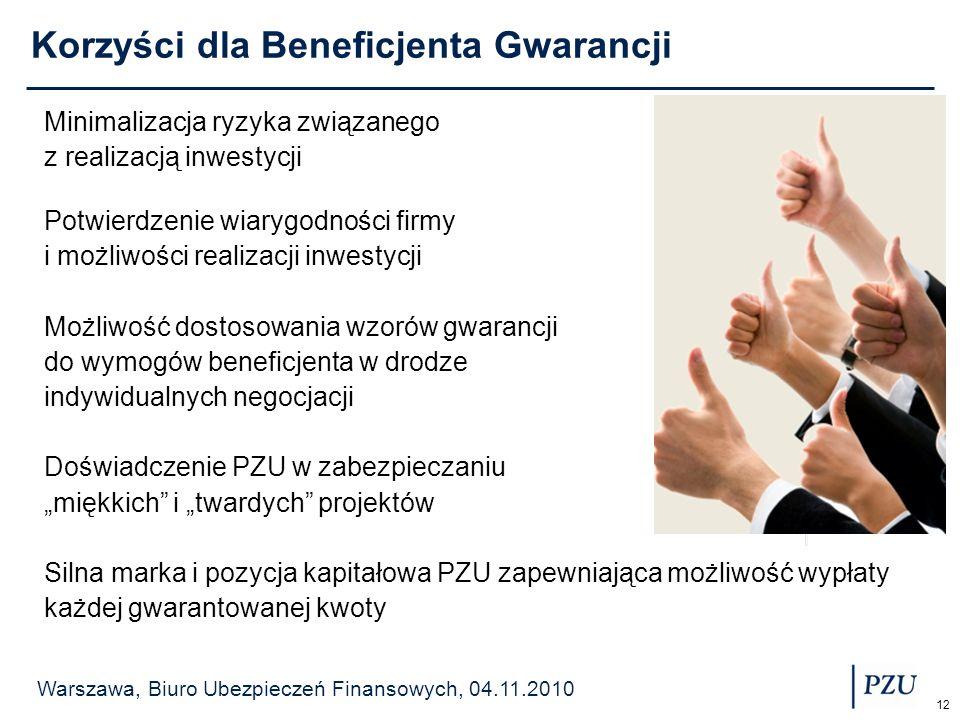 Warszawa, Biuro Ubezpieczeń Finansowych, 04.11.2010 12 Korzyści dla Beneficjenta Gwarancji Minimalizacja ryzyka związanego z realizacją inwestycji Pot