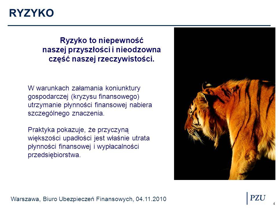 Warszawa, Biuro Ubezpieczeń Finansowych, 04.11.2010 5 RYZYKO RYZYKO RYNKOWE RYZYKO KREDYTOWE RYZYKO UTRATY PŁYNNOŚCI RYZYKO OPERACYJNE RYZYKO PRAWNE /PODATKOWE WALUTOWE STOPY PROCENTOWEJ CEN SUROWCÓW I WYROBÓW CZYNNIKI WEWNĘTRZNE CZYNNIKI ZEWNĘTRZNE