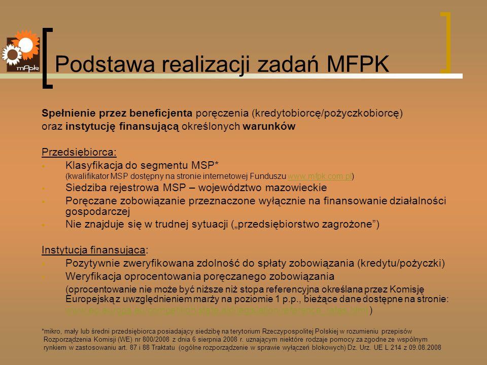 Podstawa realizacji zadań MFPK Spełnienie przez beneficjenta poręczenia (kredytobiorcę/pożyczkobiorcę) oraz instytucję finansującą określonych warunkó