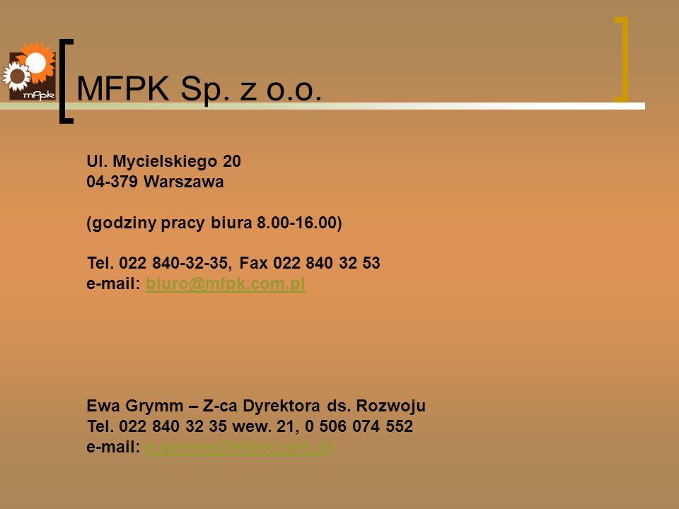 MFPK Sp. z o.o. Ul. Mycielskiego 20 04-379 Warszawa (godziny pracy biura 8.00-16.00) Tel. 022 840-32-35, Fax 022 840 32 53 e-mail: biuro@mfpk.com.plbi