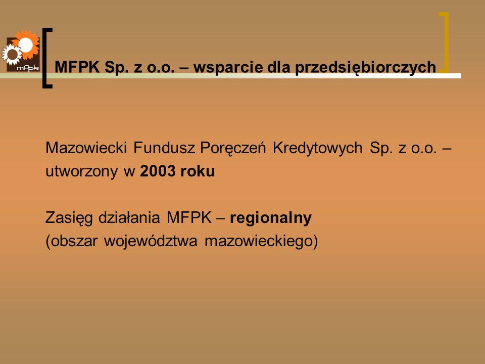 MFPK Sp. z o.o. – wsparcie dla przedsiębiorczych Mazowiecki Fundusz Poręczeń Kredytowych Sp. z o.o. – utworzony w 2003 roku Zasięg działania MFPK – re