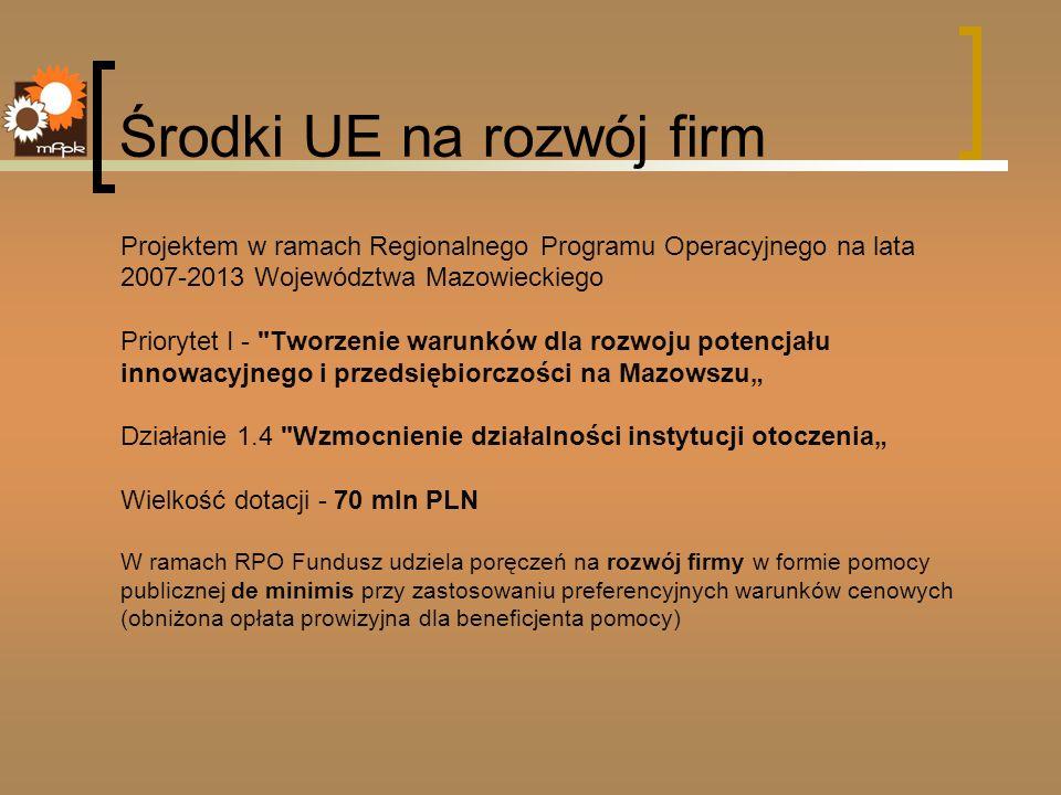 Środki UE na rozwój firm Projektem w ramach Regionalnego Programu Operacyjnego na lata 2007-2013 Województwa Mazowieckiego Priorytet I -