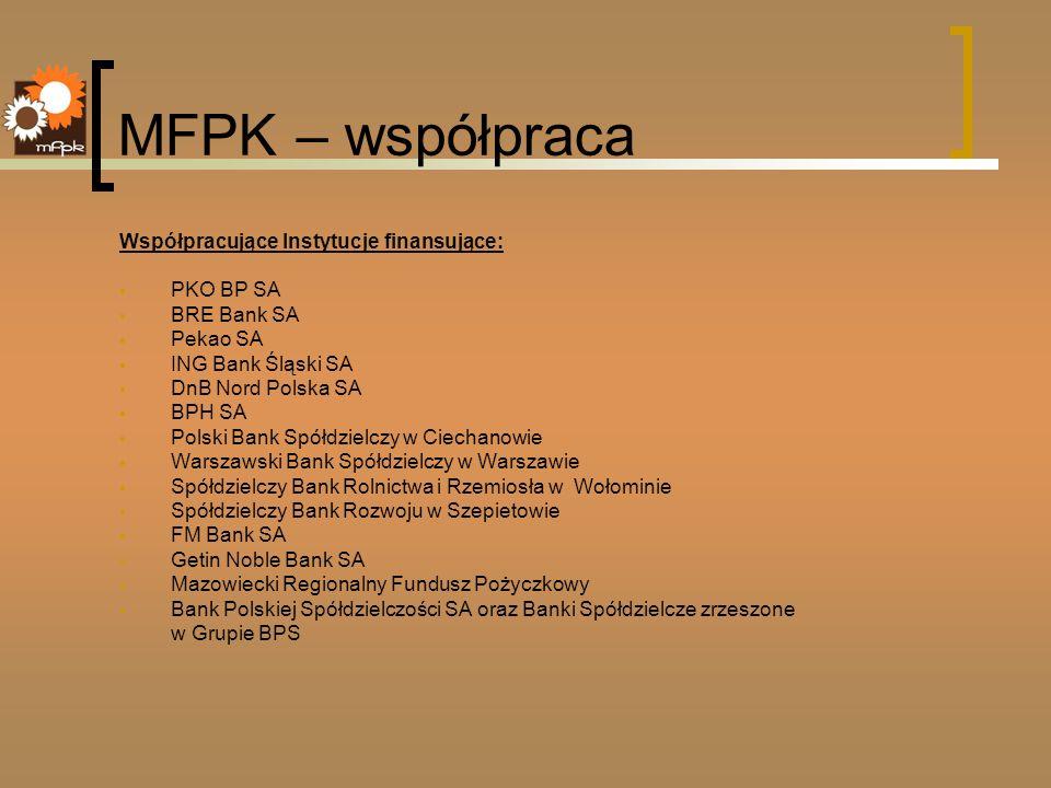 MFPK – współpraca Współpracujące Instytucje finansujące: PKO BP SA BRE Bank SA Pekao SA ING Bank Śląski SA DnB Nord Polska SA BPH SA Polski Bank Spółd