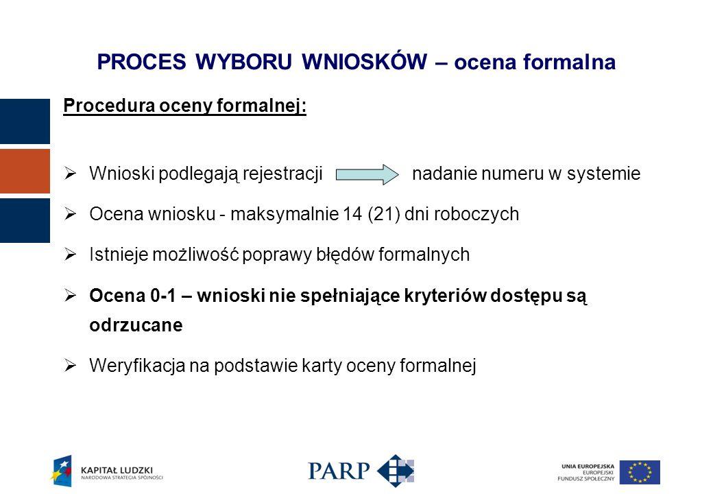 Procedura oceny formalnej: Wnioski podlegają rejestracji nadanie numeru w systemie Ocena wniosku - maksymalnie 14 (21) dni roboczych Istnieje możliwość poprawy błędów formalnych Ocena 0-1 – wnioski nie spełniające kryteriów dostępu są odrzucane Weryfikacja na podstawie karty oceny formalnej PROCES WYBORU WNIOSKÓW – ocena formalna
