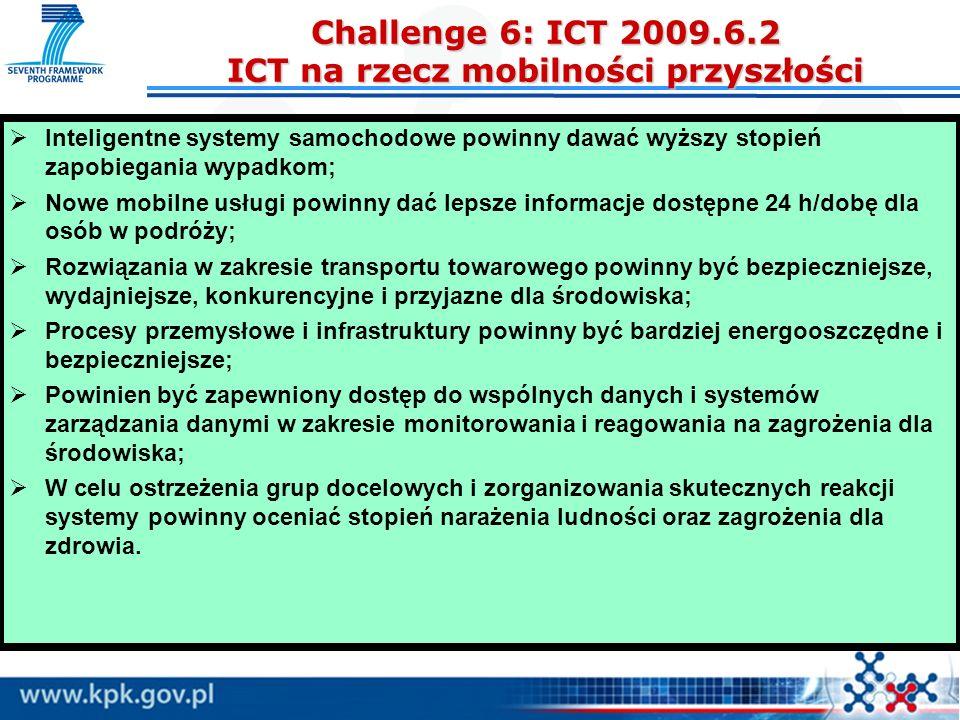 Challenge 6: ICT 2009.6.2 ICT na rzecz mobilności przyszłości Inteligentne systemy samochodowe powinny dawać wyższy stopień zapobiegania wypadkom; Now