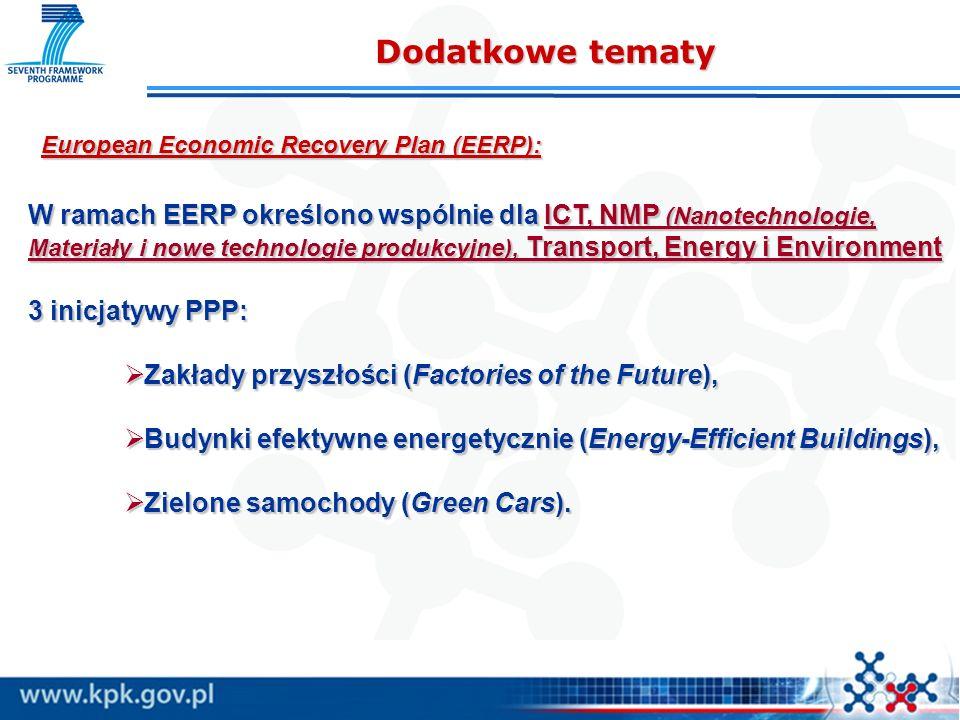 European Economic Recovery Plan (EERP): Dodatkowe tematy W ramach EERP określono wspólnie dla ICT, NMP (Nanotechnologie, Materiały i nowe technologie