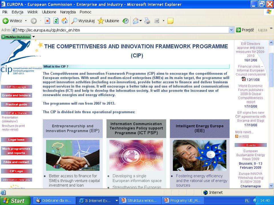 Program Ramowy na Rzecz Konkurencyjności i Innowacji, c.d. 1. Jeden z mechanizmów realizowania założeń Strategii Lizbońskiej. 2. Cele programu: zwięks