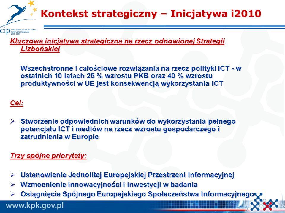 Kontekst strategiczny – Inicjatywa i2010 Kontekst strategiczny – Inicjatywa i2010 Kluczowa inicjatywa strategiczna na rzecz odnowionej Strategii Lizbo