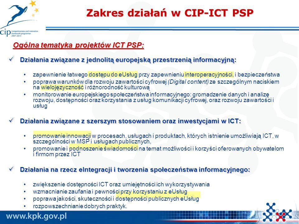Ogólna tematyka projektów ICT PSP: Zakres działań w CIP-ICT PSP Działania związane z jednolitą europejską przestrzenią informacyjną: Działania związan