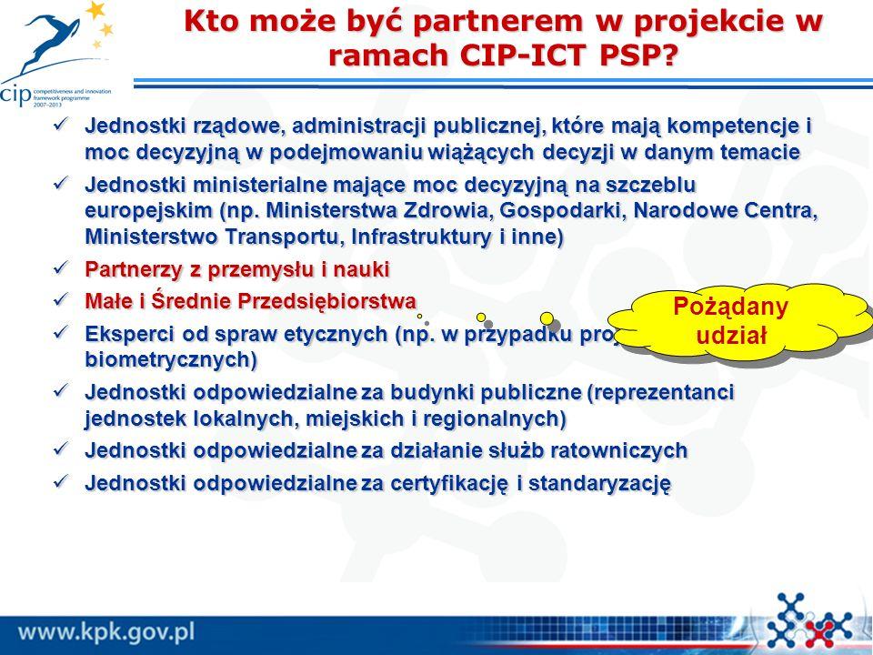 Kto może być partnerem w projekcie w ramach CIP-ICT PSP? Jednostki rządowe, administracji publicznej, które mają kompetencje i moc decyzyjną w podejmo