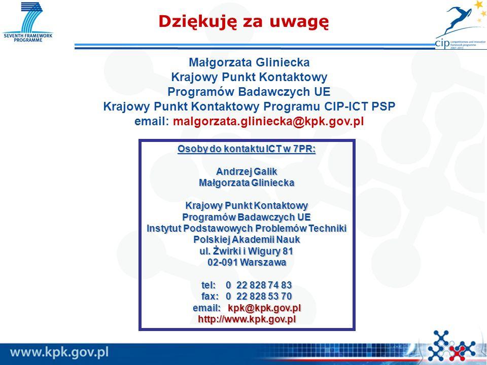 Dziękuję za uwagę Małgorzata Gliniecka Krajowy Punkt Kontaktowy Programów Badawczych UE Krajowy Punkt Kontaktowy Programu CIP-ICT PSP email: malgorzat