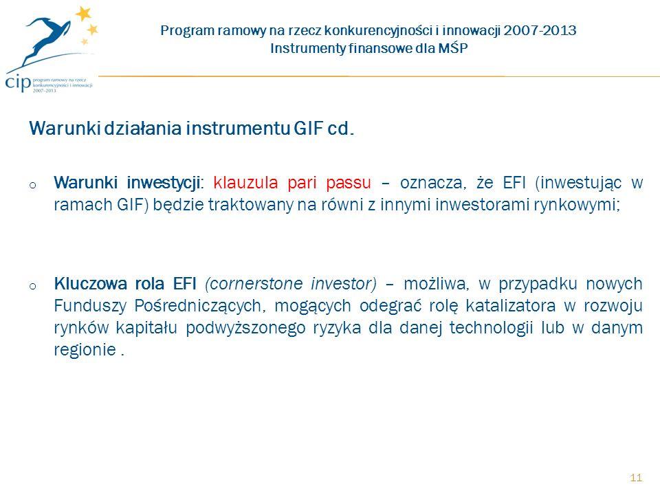 Warunki działania instrumentu GIF cd.
