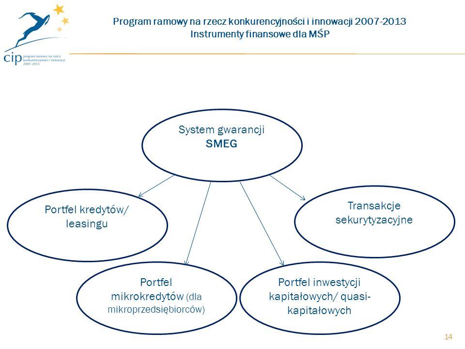 Program ramowy na rzecz konkurencyjności i innowacji 2007-2013 Instrumenty finansowe dla MŚP System gwarancji SMEG Portfel kredytów/ leasingu Portfel mikrokredytów (dla mikroprzedsiębiorców) Portfel inwestycji kapitałowych/ quasi- kapitałowych Transakcje sekurytyzacyjne 14