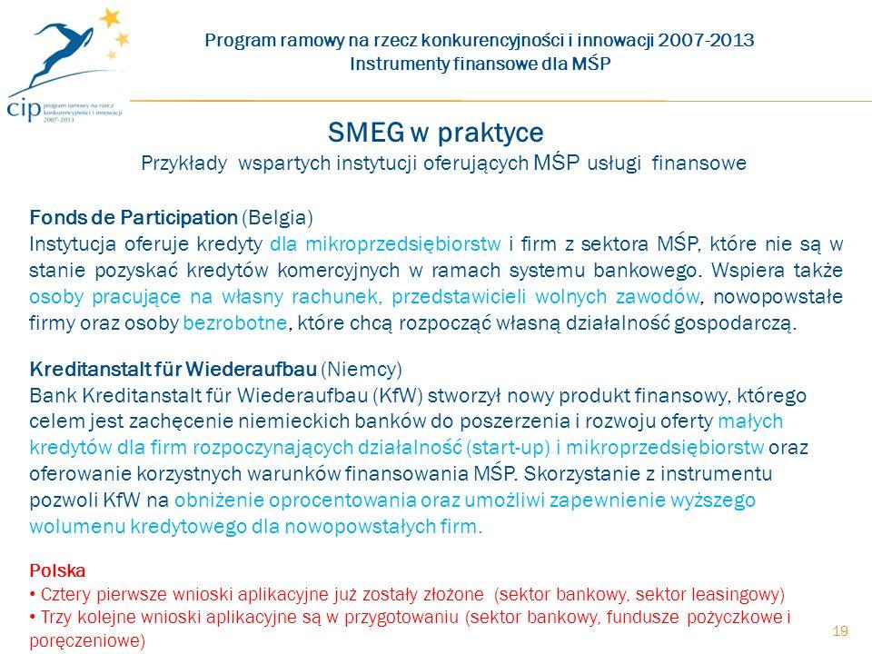 19 SMEG w praktyce Przykłady wspartych instytucji oferujących MŚP usługi finansowe Fonds de Participation (Belgia) Instytucja oferuje kredyty dla mikroprzedsiębiorstw i firm z sektora MŚP, które nie są w stanie pozyskać kredytów komercyjnych w ramach systemu bankowego.