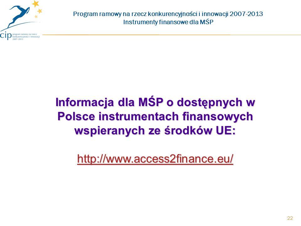 22 Informacja dla MŚP o dostępnych w Polsce instrumentach finansowych wspieranych ze środków UE: http://www.access2finance.eu/