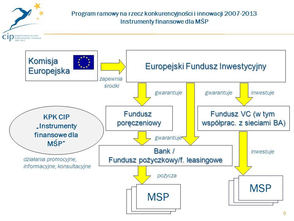 6 Bank / Fundusz pożyczkowy/f. leasingowe Fundusz VC (w tym współprac.