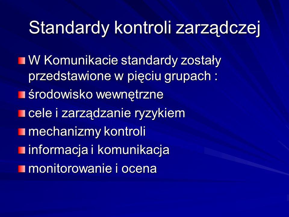 Standardy kontroli zarządczej W Komunikacie standardy zostały przedstawione w pięciu grupach : środowisko wewnętrzne cele i zarządzanie ryzykiem mecha