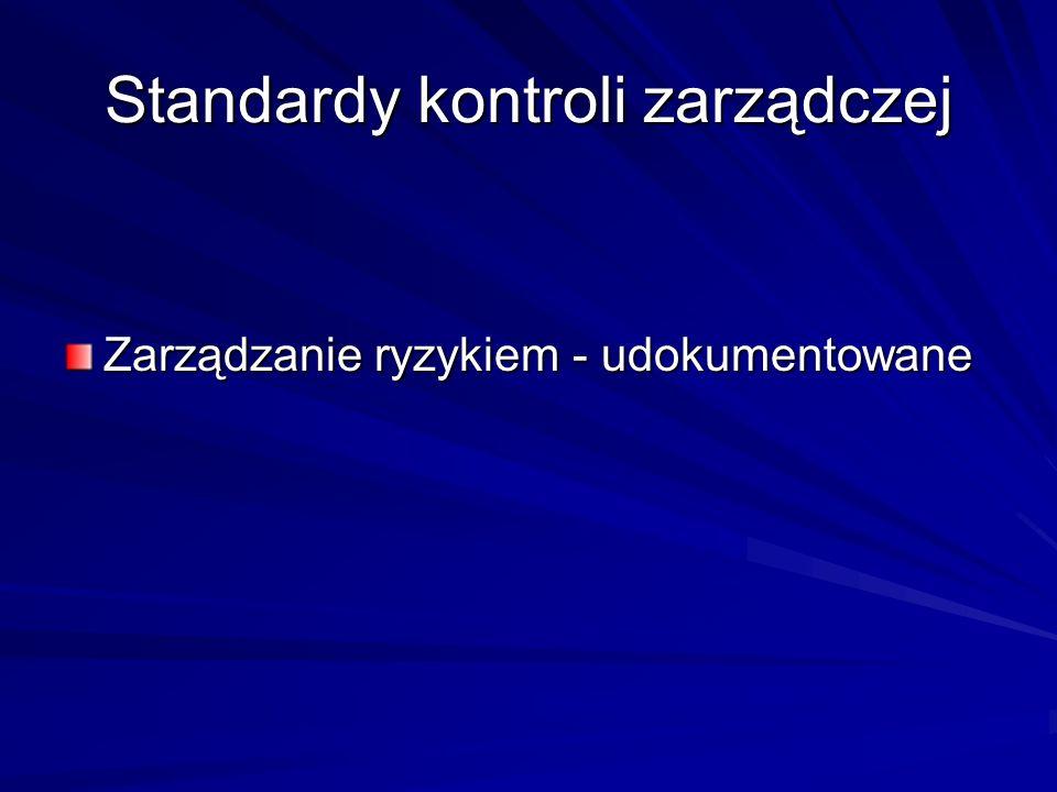 Standardy kontroli zarządczej Zarządzanie ryzykiem - udokumentowane