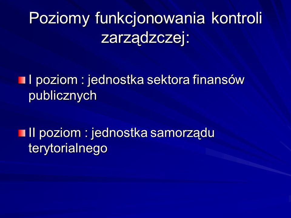 Poziomy funkcjonowania kontroli zarządzczej: I poziom : jednostka sektora finansów publicznych II poziom : jednostka samorządu terytorialnego