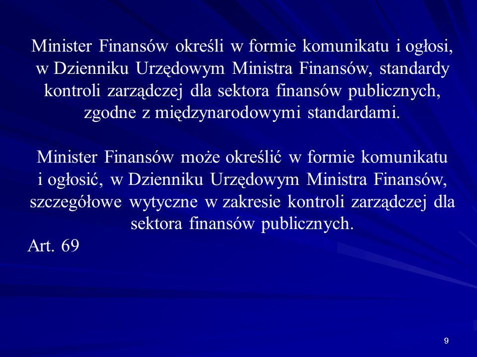 Minister Finansów określi w formie komunikatu i ogłosi, w Dzienniku Urzędowym Ministra Finansów, standardy kontroli zarządczej dla sektora finansów pu