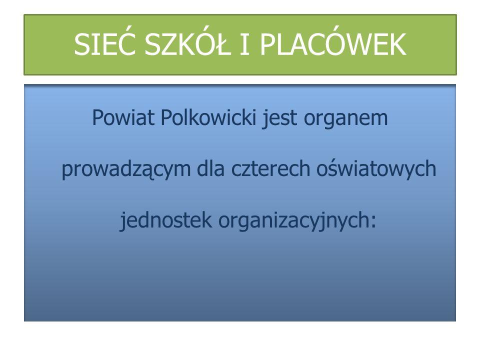SIEĆ SZKÓŁ I PLACÓWEK Powiat Polkowicki jest organem prowadzącym dla czterech oświatowych jednostek organizacyjnych: