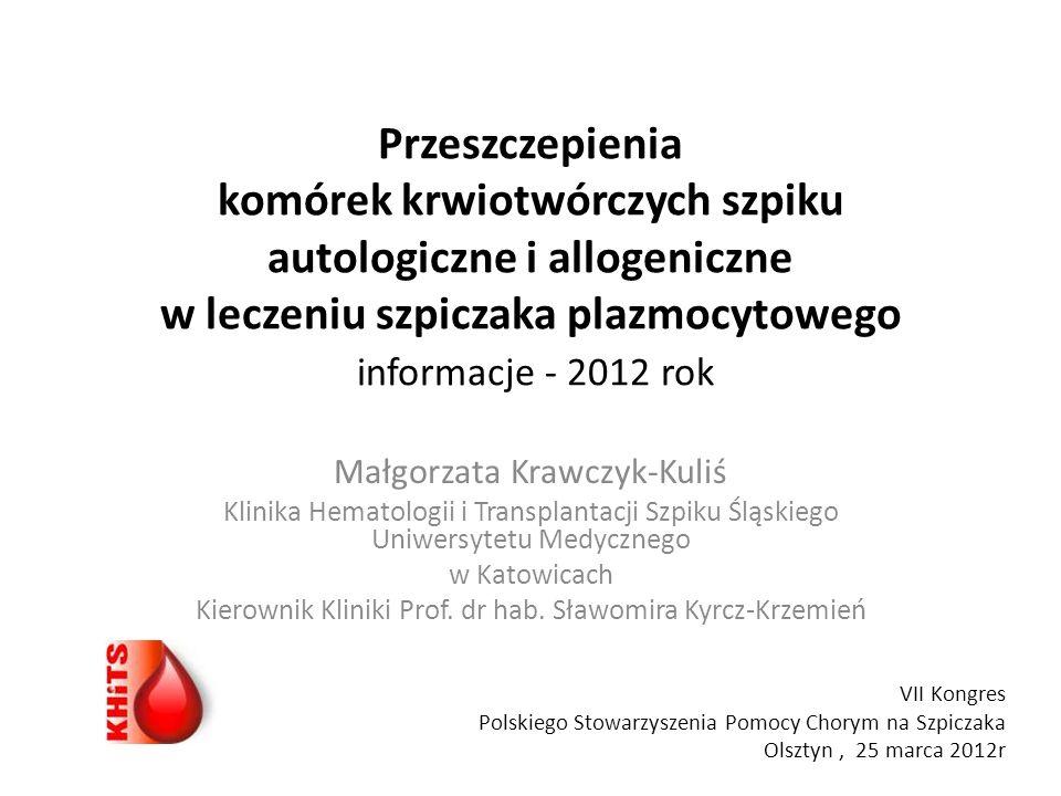Przeszczepienia szpiku w Klinice Hematologii i Transplantacji Szpiku Śląskiego Uniwersytetu Medycznego Ogółem n=2453 Autotransplantacje n=1433 Allotransplantacje n=1020 rodzinne n=509 niespokrewnione n=511