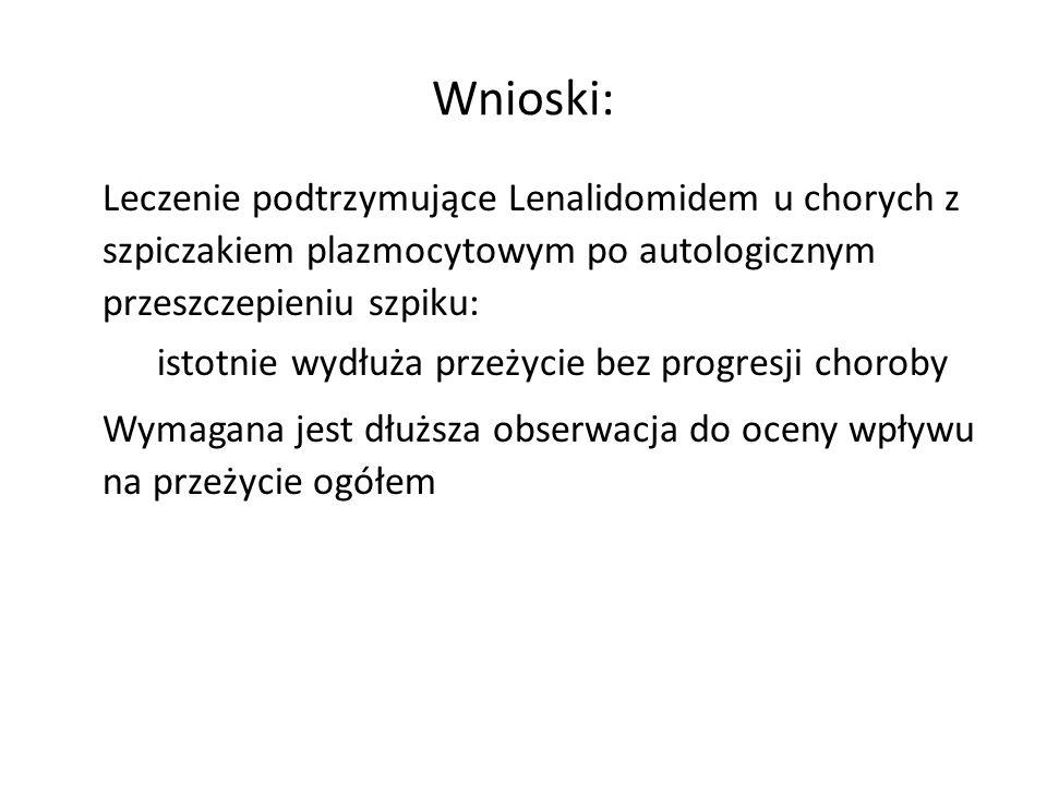 Wnioski: Leczenie podtrzymujące Lenalidomidem u chorych z szpiczakiem plazmocytowym po autologicznym przeszczepieniu szpiku: – istotnie wydłuża przeży