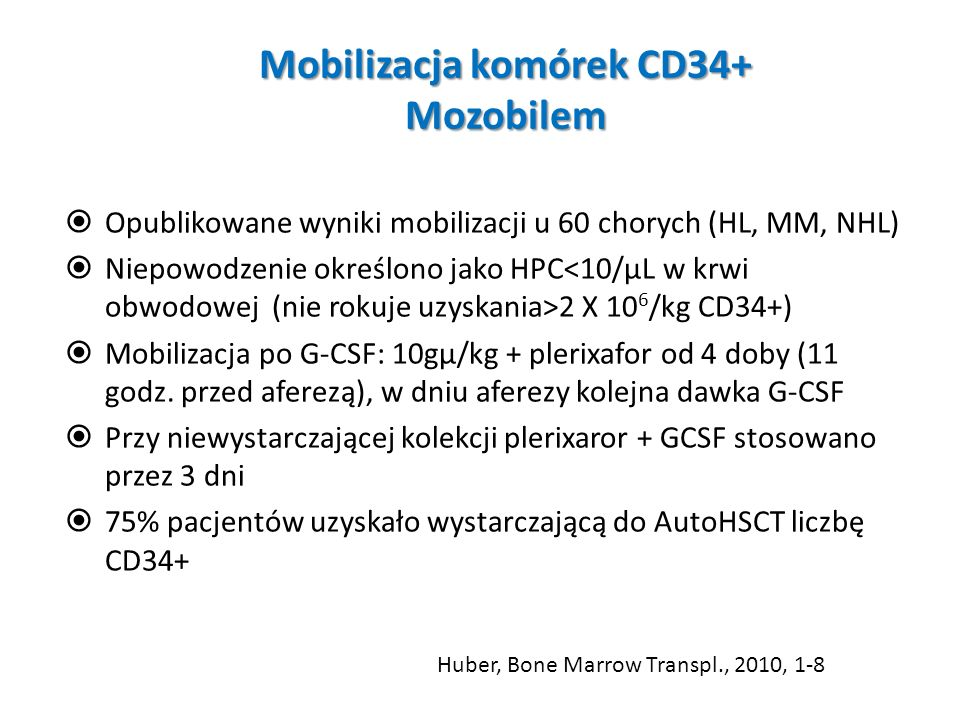 Mobilizacja komórek CD34+ Mozobilem Opublikowane wyniki mobilizacji u 60 chorych (HL, MM, NHL) Niepowodzenie określono jako HPC 2 X 10 6 /kg CD34+) Mo
