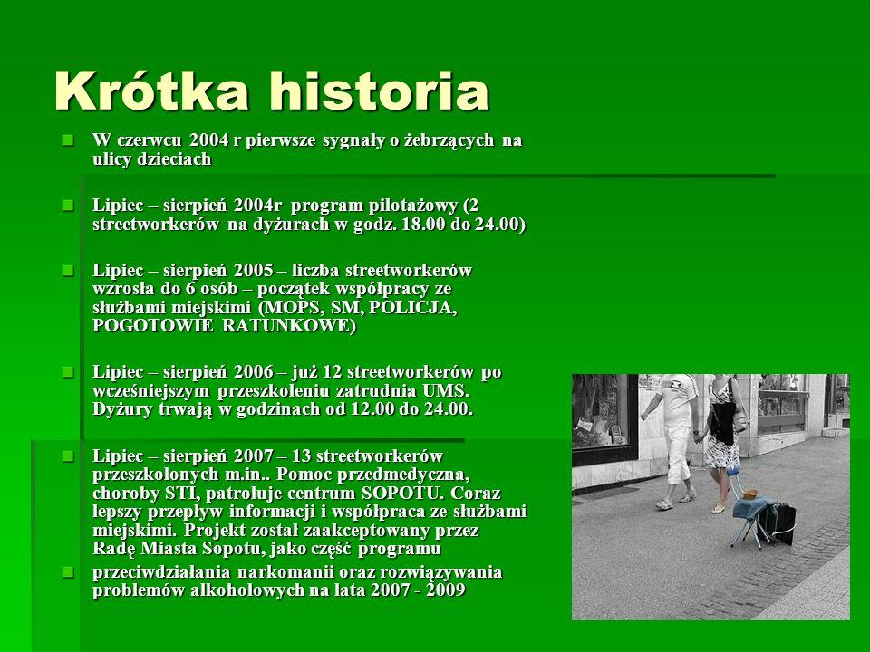 Krótka historia W czerwcu 2004 r pierwsze sygnały o żebrzących na ulicy dzieciach Lipiec – sierpień 2004r program pilotażowy (2 streetworkerów na dyżu