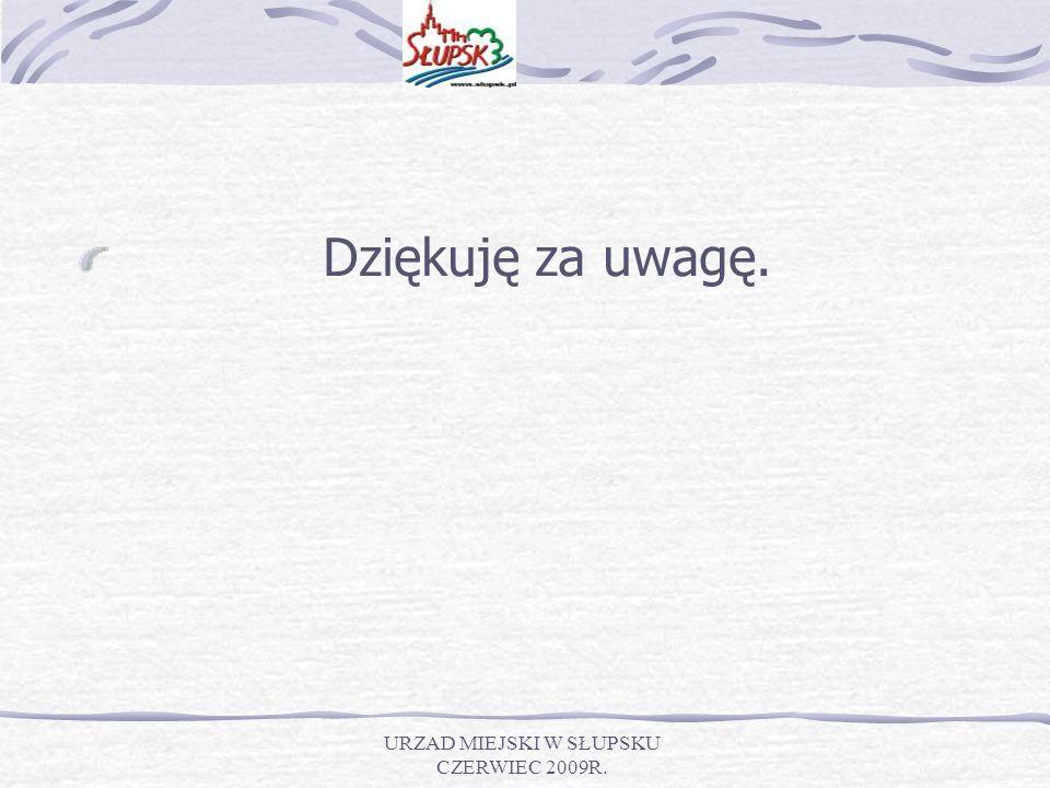 URZAD MIEJSKI W SŁUPSKU CZERWIEC 2009R. Dziękuję za uwagę.