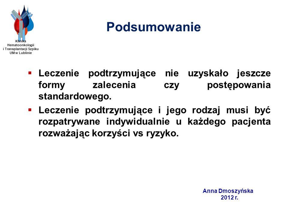 Anna Dmoszyńska 2012 r. Podsumowanie Leczenie podtrzymujące nie uzyskało jeszcze formy zalecenia czy postępowania standardowego. Leczenie podtrzymując