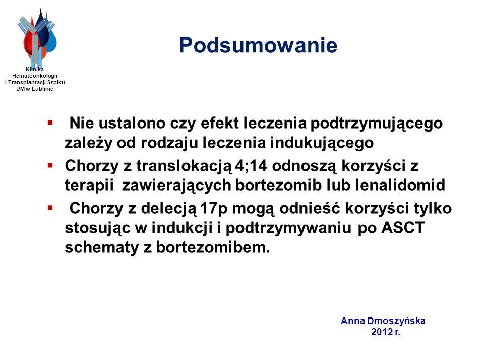 Anna Dmoszyńska 2012 r. Nie ustalono czy efekt leczenia podtrzymującego zależy od rodzaju leczenia indukującego Chorzy z translokacją 4;14 odnoszą kor